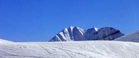 offpiste: Panoramic view on off-piste slope. Georgia, region Gudauri. Caucasus Mountains.