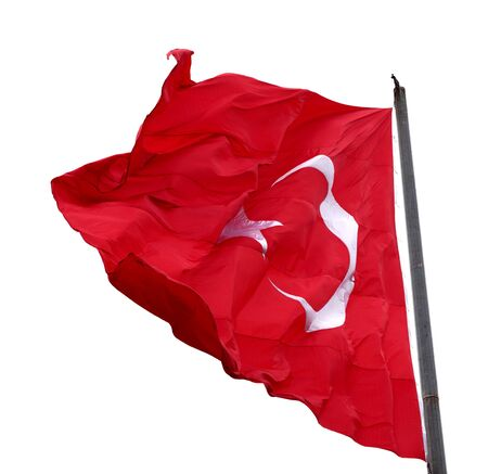 Turkish flag waving in windy day. Isolated on white background.