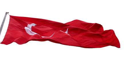 brandish: Waving in wind flag of Turkey. Isolated on white background.