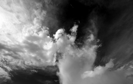 wideangle: Black and white sky with clouds. Wide-angle view.