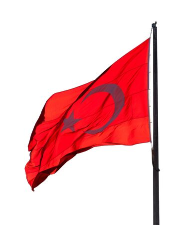 brandish: Flag of Turkey waving in wind evening. Isolated on white background.
