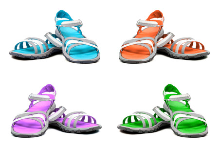 sandals isolated: Set of multicolor summer sandals. Isolated on white background.