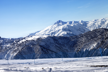 piste: Ski slope in sunny morning. Caucasus Mountains, Tetnuldi, Svaneti region of Georgia.