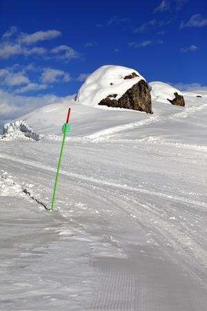 Ski slope in sun winter day. Greater Caucasus, Mount Shahdagh, Azerbaijan. Stock Photo
