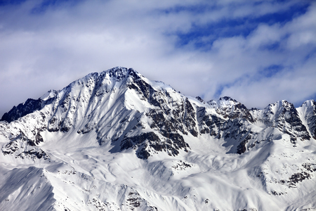 Winter snow mountains at nice sun day. View from ski lift on Hatsvali, Svaneti region of Georgia. Caucasus Mountains. Stock Photo