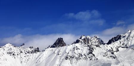 Panoramic view on snowy mountains at sun day. Caucasus Mountains. Svaneti region of Georgia.