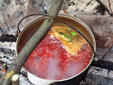 Borscht (Ukrainian traditional soup) cooking in sooty cauldron on campfire at forest. Selective focus. Stock Photo