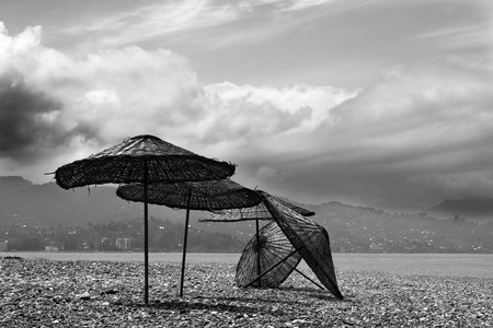 felled: Black and white old sunshade on deserted beach out of season in sunny day Stock Photo