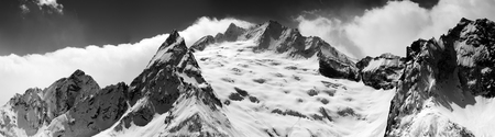 cocaine: Black and white panorama of snow maintain at winter. Caucasus Mountains, region Dombay. Stock Photo