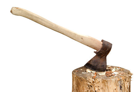 filings: Axe in stump isolated on white background