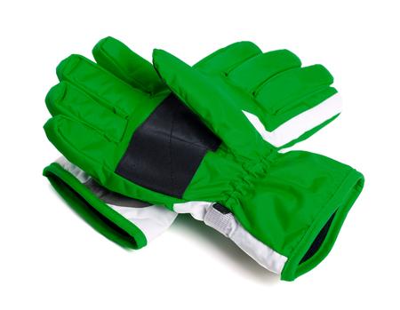 Green winter ski gloves isolated on white background