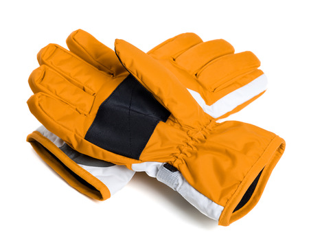 Pair of winter ski gloves isolated on white background Stock Photo