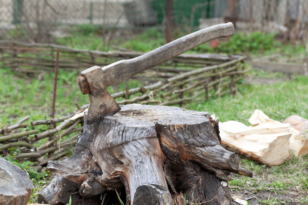 Tree stump with old axe on cottage glade at summer day