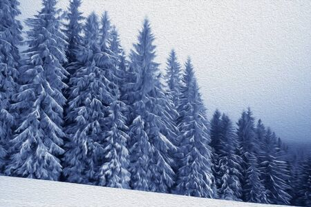 Frozen snow-covered spruce forest in fog and snowy slope at winter. Carpathian Mountains at Christmas Holidays, Ukraine. Oil paint effect filter.