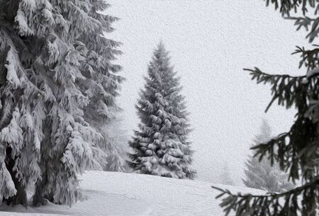 Frozen snow-covered spruce forest after snowfall and gray sky in fog at winter day. Carpathian Mountains, Ukraine. Oil paint effect filter. Stock fotó