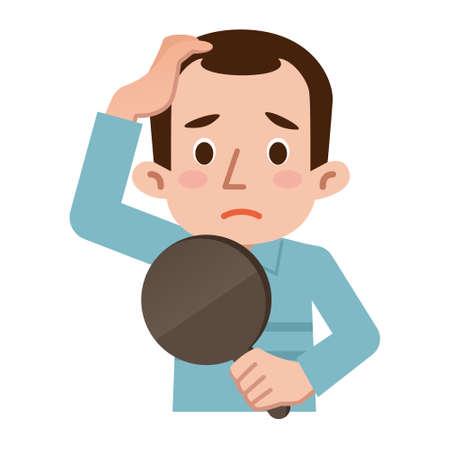 숱이 머리의 문제 일러스트