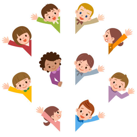 personas saludando: Vector illustration.Original pinturas y dibujo.