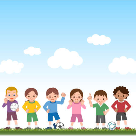 futbol infantil: Vector illustration.Original paintings and drawing.