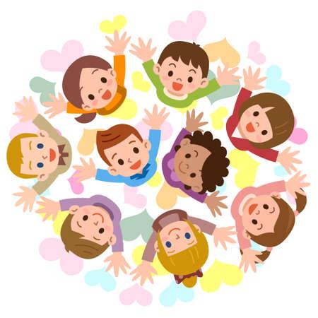 girotondo bambini: Vector illustration.Original dipinti e disegni.