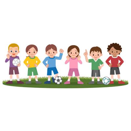 futbol infantil: Vector illustration.Original pinturas y dibujo.