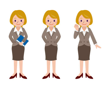 funny people: Pose set of business woman Illustration