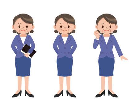executive women: Pose set of business woman Illustration