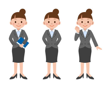 woman pose: Pose set of business woman Illustration