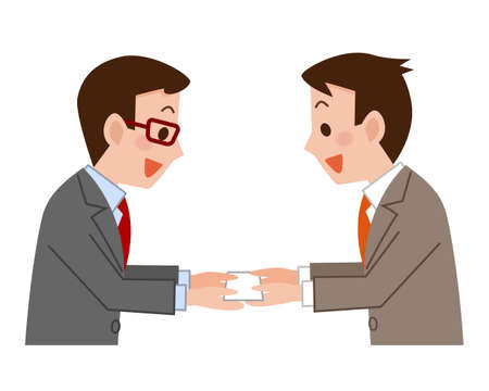 exchanging: Businessmen exchanging business cards
