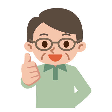 senior men: Thumbs up senior men Illustration