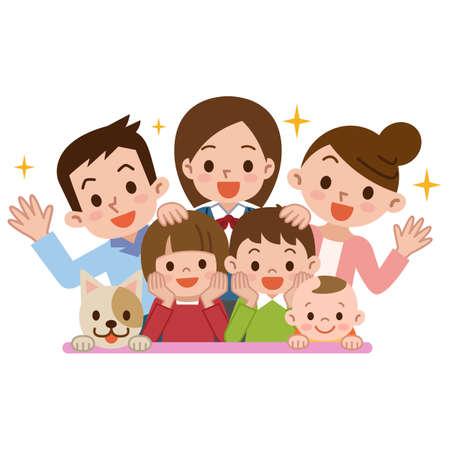 행복 한 가족의 미소 일러스트