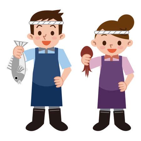Jeune employé de poissonnerie Banque d'images - 51348808