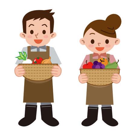 asian gardening: Young men and women farmers