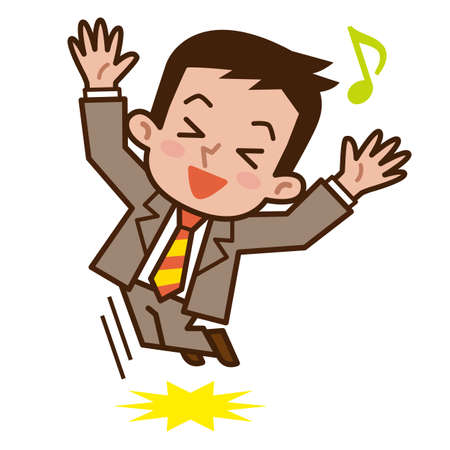 Businessman happy to jump