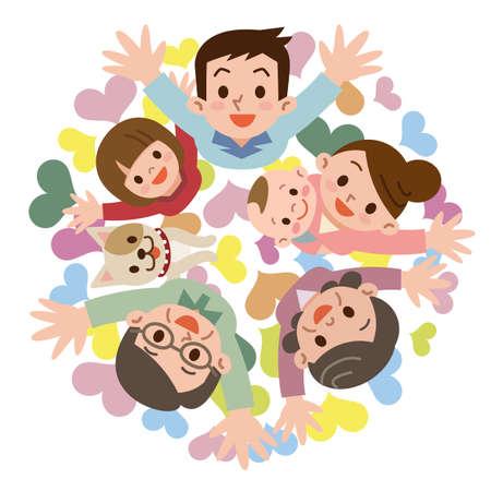 家庭: 一個幸福的家庭微笑