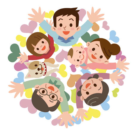 persona alegre: Sonrisa de una familia feliz Vectores