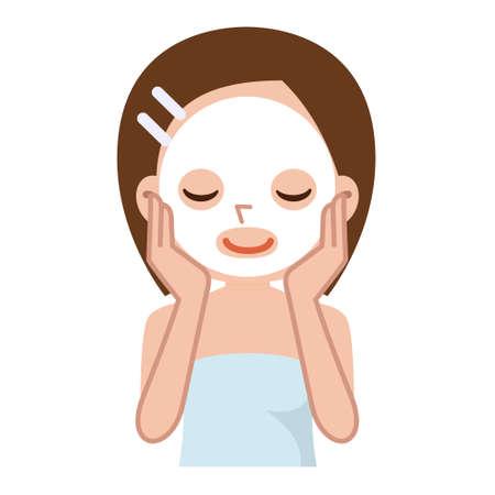 mooie jonge vrouw doet cosmetische masker op haar gezicht