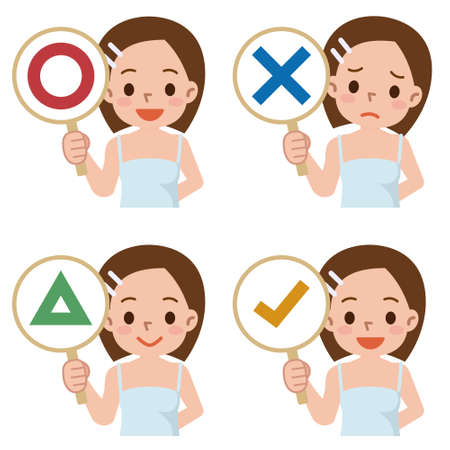 animation teenagers: girl have a plate of sign to answer correct or incorrect