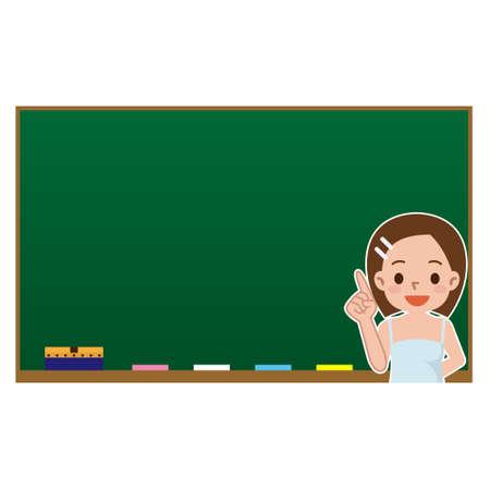 young woman on blank chalkboard background