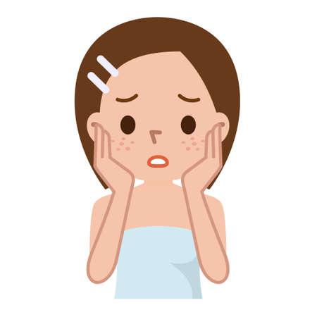 mulher: Mulher com pele manchada com pores profundos e cravo