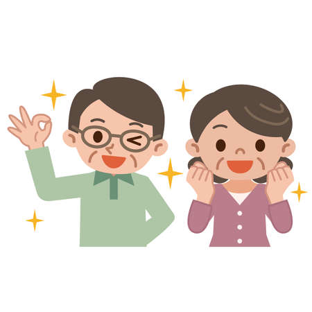 asian happy family: Senior couple rejoice Illustration