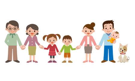De la mano y la familia feliz de tres generaciones Ilustración de vector