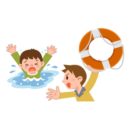 drowning: Man to rescue the children from drowning Illustration
