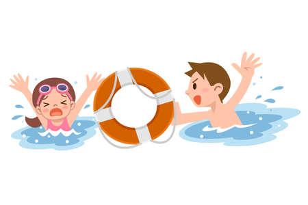 ahogarse: El hombre para rescatar a la chica se ahogan