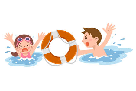 Man to rescue the girl drown Illustration