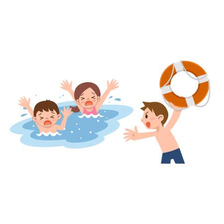 maillot de bain: Man pour sauver les enfants qui se noient