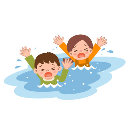 ahogarse: Los niños se ahogan Vectores
