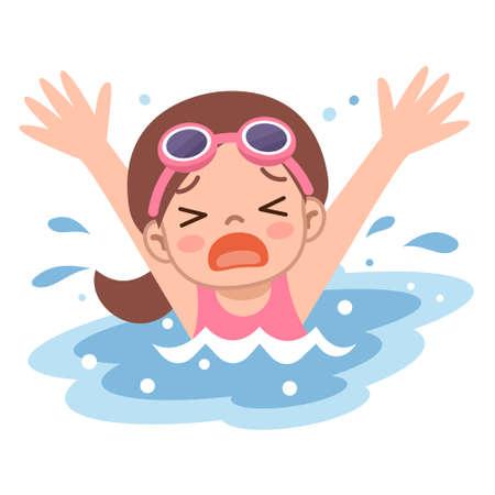 Girl drown in water Vector Illustration