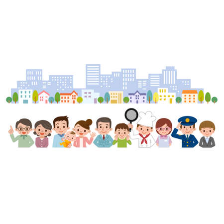 地域の様々 な職業の人々  イラスト・ベクター素材