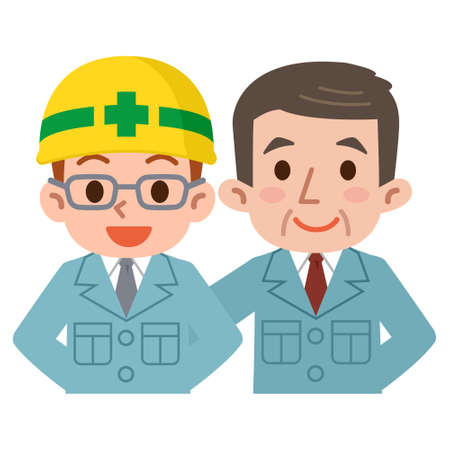 work clothes: Young employees and boss in work clothes Illustration