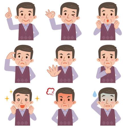 gestos de la cara: hombre maduro expresiones faciales compuesto aislado en el fondo blanco